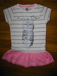 много футболки и майки девочке на 3-5 лет