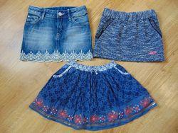 Юбка джинсовая, теплая на 2-4 года
