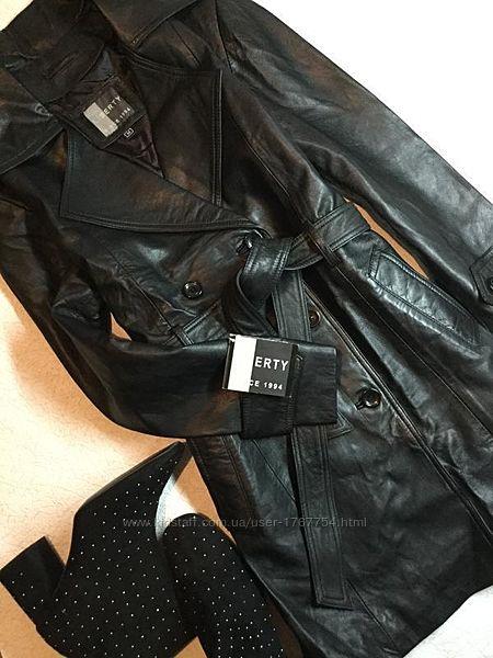 Новый с биркой тренч кожаный двубортный куртка плащ винтажный стиль liberty