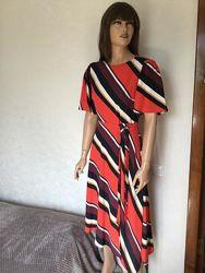 Новое с биркой ассиметричное платье миди в полоску f&f размер 6/8