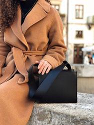 Базовая черная белая бежевая квадратная сумка клатч с широким ремешком