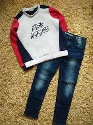 Джинсы свитшот толстовка свитер для парня мальчика 9-10-11 лет 146 см
