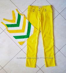 Женские летние яркие брюки штаны джинсы и майка, S-M 44-46