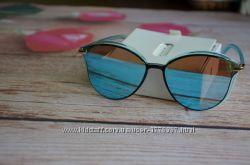 Зеркальные голубые женские солнцезащитные очки