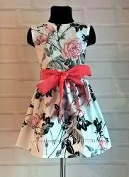 Платье для девочки. Платье детское с цветочным принтом. 100 хлопок