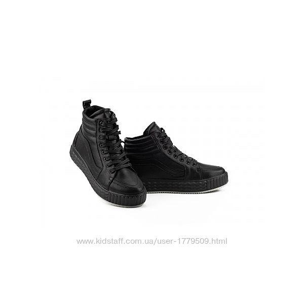 Женские кеды кожаные зимние черные Brand B8В11