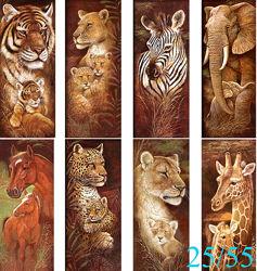 Алмазная вышивка, мозаика 5d, наборы, тигр, жираф, лев, кот, павлин, 25х55
