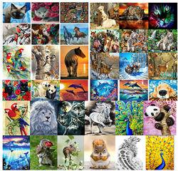 Алмазная вышивка, мозаика 5d, наборы, животные,  олень, тигр, собака, 30х40