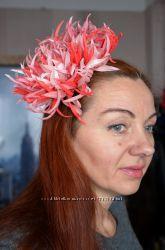 Огненная хризантема брошь, заколка, шляпка. Ручная работа