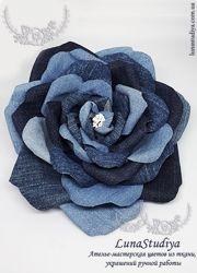 Роза из джинса - брошь-заколка. Джинсовый цветок