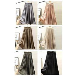 Женская плиссированная бархатная юбка плиссе розовая зеленая