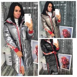 Женская объемная куртка пуховик парка серебро черная бронзовая