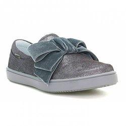 Серебристые кожаные слипоны туфли на девочку 35-36 р
