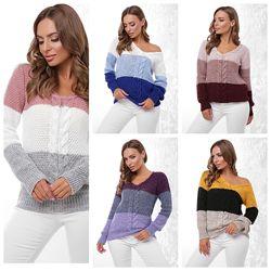 Джемпер, свитер трехцветный