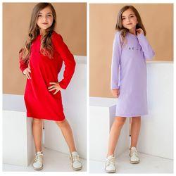 Платье на девочку с трендовым принтом 122-140замеры