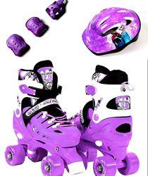 Ролики квады раздвижные, защита, шлем Scale Sport 29-33, разные цвета