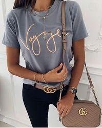 Трикотажная футболка с накатом в принт р.42-46 туника с декором мини платье