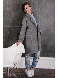 Шерстяное пальто бойфренд тренч удлиненный пиджак оверсайз р.46-50