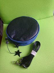 Сумка кожаная кроссбоди джинс вставка круглый кожаный клатч
