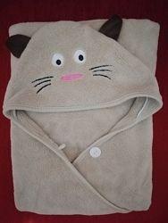 Детское махровое полотенце c капюшоном 90х90 см
