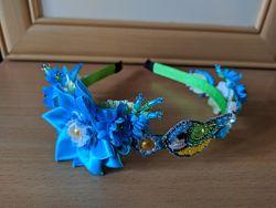 Цветочный ободок с синичкой
