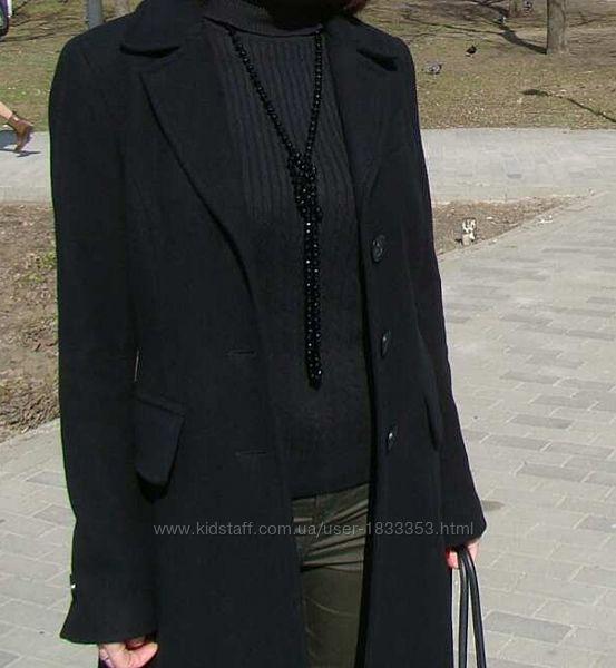 Пальто женское Benetton. Шерсть. Цвет чёрный. Размер 44
