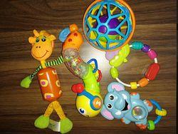 Лот детских игрушек погремушек. Жираф, гусеница, слонёнок, O-ball мячи