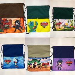 Сумка-рюкзак, сумка-мешок детский для прогулки Леон brawl stars розниц, опт