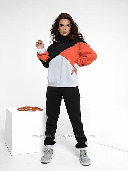 Утепленный флисом спортивный костюм, жіночий теплий костюм на флісі