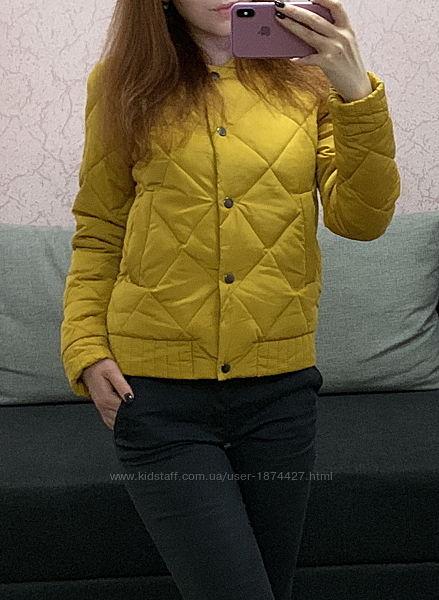 Новая желтая стеганная женская демисезонная куртка/бомбер на кнопках
