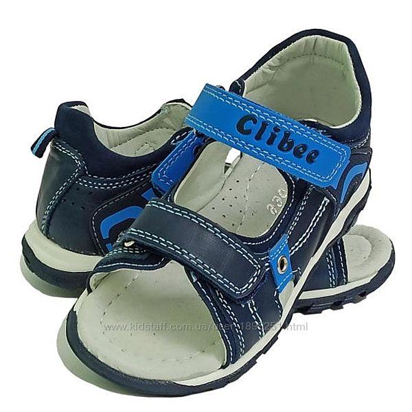 Clibee Ав-6 синий кожаные босоножки сандали босоніжки літнє обувь взуття