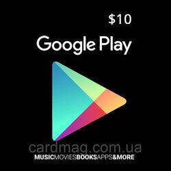Подарочная карта Google Play Gift Card на сумму 10 USD, US-регион