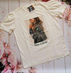 Трендовая женская футболка с модным принтом в ассортименте