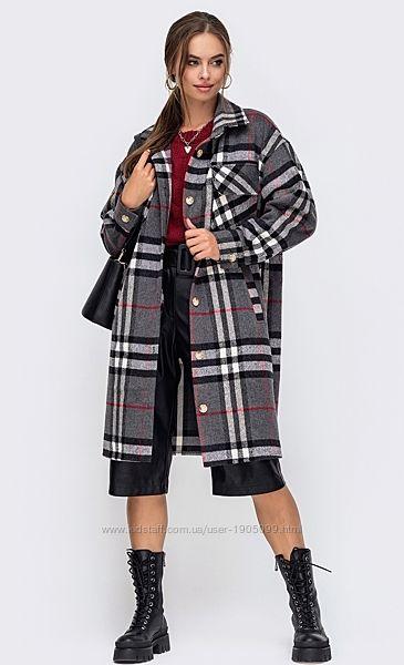 Пальто - рубашка оверсайз шерстяное  в клетку на пуговицах