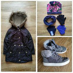 F&f clarks arctic демисезонный комплект одежды р.110/116 - парка, ботинки,