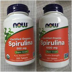 Now Foods , Спирулина , спирулина 500 mg , спирулина 1000 mg ,200 шт