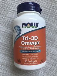 Now Foods , Омега-3 , Омега Tri-3D , рыбий жир с витамином Д3 , 90 шт
