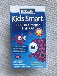 Bioglan , Kids Smart , омега-3 для детей , рыбий жир , омега 3  детям  , 30
