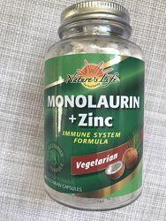 Natures Life , Монолаурин и цинк , монолаурин цинк , 90 капсул