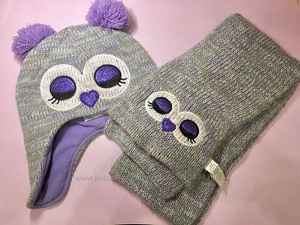 Набор шапка и шарфик совушка от Childrens Place 4-7 лет .
