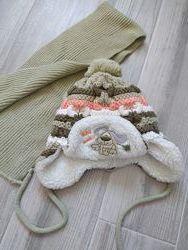 Набор зимняя шапка и шарф для мальчика, шапка на овчине