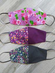 Многоразовая маска в цветах, маска в цветочек