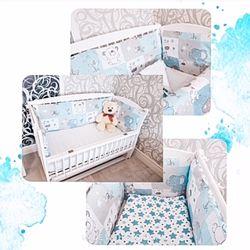 Бортікі для новонародженого, захист в ліжечко для маладенцем, балдахін