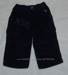 Фирменные темно-синие вельветовые брючки для девочки, 1-1, 5 года