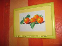 Вышитая чешским бисером картина Апельсины