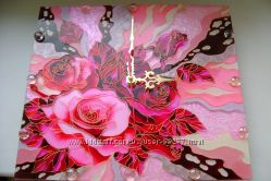 Часики настенные Ручная работа витражная роспись золушка немо розы